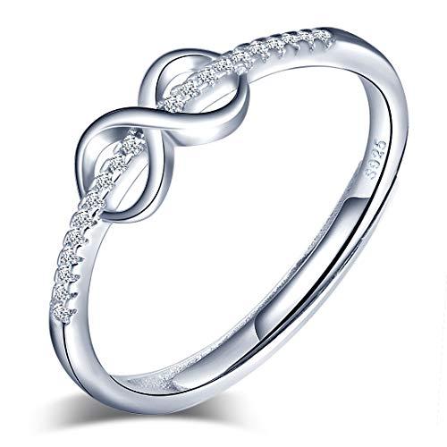 Yumilok Anillo de plata de ley 925 para mujer, anillo abierto con símbolo de infinito, circonita con incrustaciones, tamaño ajustable, regalo de cumpleaños de Navidad, tamaño adecuado: 49-57