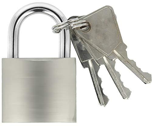 COM-FOUR® hangslot van massief metaal - hangslot met geharde beugel en 3 sleutels (01 stuk - 37 mm)