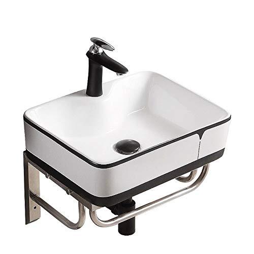Yhjkvl Lavabo de Baño Soporte de Pared Pequeño Medio Baño Cuenca Esquina tocador de baño de cerámica del Buque Fregadero con Estante del Metal Lavabos sobre Encimera