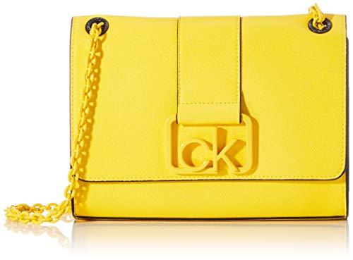 Calvin Klein - Ck Signature Conv Crossbody Md, Bolsos bandolera Mujer, Amarillo (Scuba Yellow), 1x1x1 cm (W x H L)