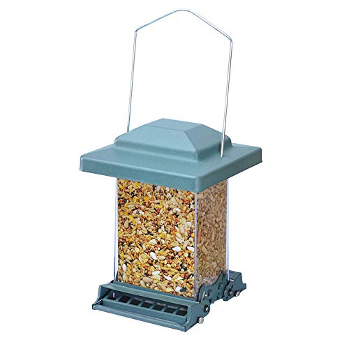 Myard Double Sided Squirrel Proof Bird Feeder w/Weight Adjustable + Extendable Perch, 3.6qt / 6lb up Seed Capacity (Green)