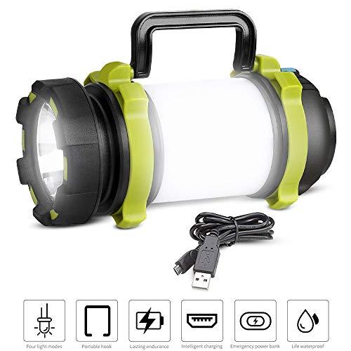 REEXBON LED Handscheinwerfer 1200LM, Campinglampe Led Handlampe mit 4000mAh CREE Powerbank Dimmbare Taschenlampe Wiederaufladbare Suchscheinwerfer für Camping Angeln Abenteuer Wandern Notfall