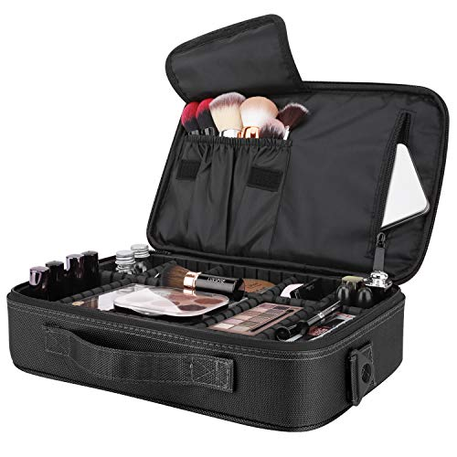 Luxspire Makeup Cosmetic Storage Bag, Portable Waterproof Double Layer Make up Case Cosmetic Pouch Travel Storage Box Toiletry Organizer Tool with Shoulder Straps - Black
