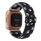 Adjustable Elastic Watch Band Compatible with Fitbit Versa/Versa 2/Versa Lite for Women Girls Stretch Boho Sport Watch Strap Bracelet Wristband for Fitbit Versa Smart Watch (Black Dog Paw)