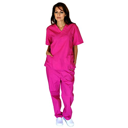 Women's Scrub Set - Medical Scrub Top and Pant, Hot Pink, XX-Small