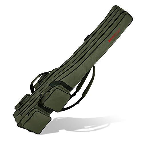 Angel Tasche Futteral Rutentasche Fishing Rucksack - Oliv 2 Innenfächer - 210 cm