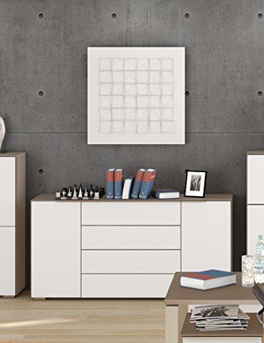 Schubladen Kommode MAJA MÖBEL YAS in Glas Sand matt / Sideboard 159x79,4x46,2cm mit 2 Türen und 4 Schubladen