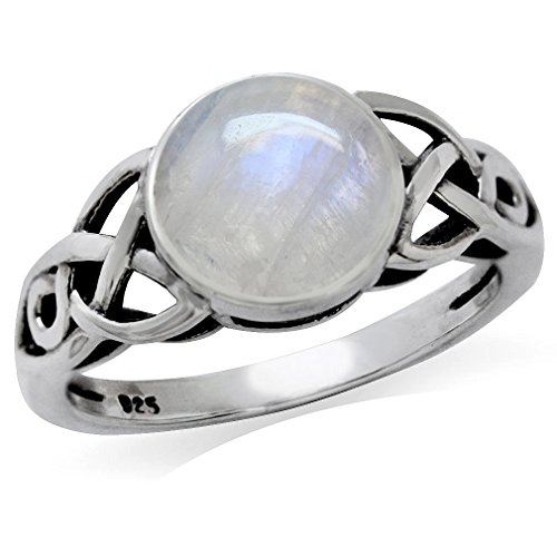 Silvershake 8mm Natural Round Shape Moonstone 925 Sterling Silver Triquetra Celtic Knot Solitaire Ring Size 10