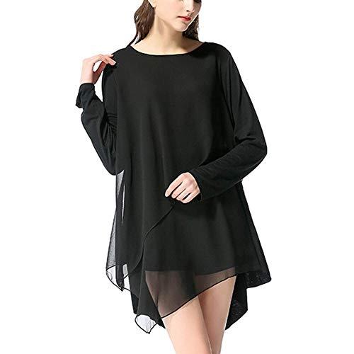 Women Casual Chiffon Tops Solid lange mouwen Daily onregelmatige T-shirt Zwart Wit Elegant Casual shirt Tees vrouwelijke top
