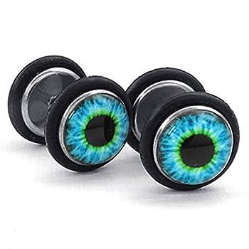 Mens Stainless Steel Evil Eye Stud Earrings Blue Black  Blue