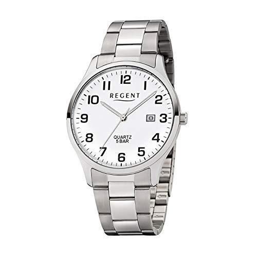 Regent Herren-Armbanduhr Elegant Analog Edelstahl-Armband silber Quarz-Uhr Ziffernblatt weiß UR1153403