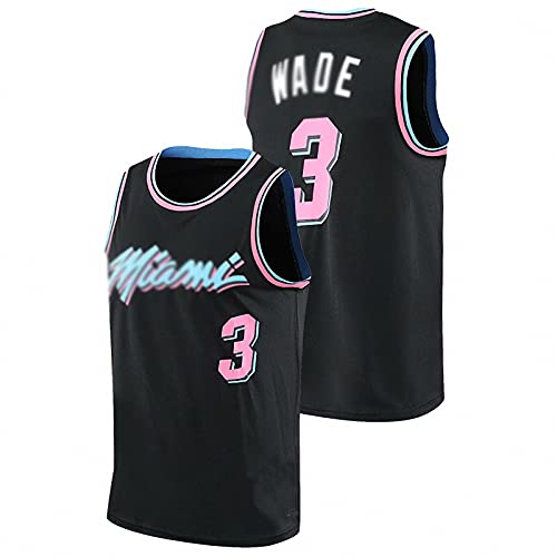 AGLT Camiseta de la NBA para hombre, edición de la ciudad n#3 Wade ropa de baloncesto, verano al aire libre casual manga corta,, negro, L
