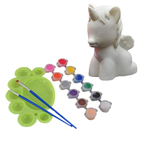 SUPVOX niños de plástico Hucha Figura Unicornio Juguete Pintura de DIY con 12 Colores de la Herramienta de la decoración fijadas casa Regalos