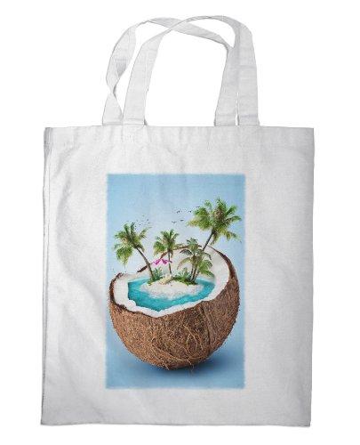 Merchandise for Fans Einkaufstasche- 38x42cm, 8 Liter - Motiv: Traumstrand mit Palmen in Einer Kokosnuss [ 04 ]