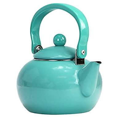 Calypso Basics by Reston Lloyd Enamel-on-Steel Tea Kettle, 2-Quart, Turquoise