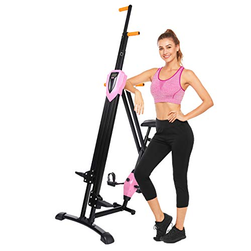 Aceshin Foldable Vertical Climbing Machine Stair Climber Stepper Home Body Workout Exercise Fitness (Pink)