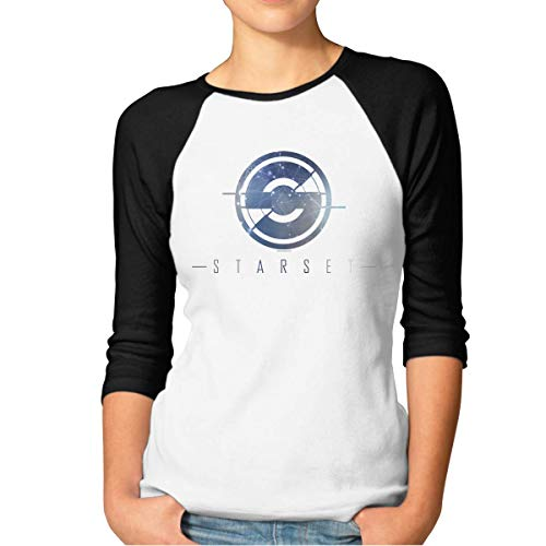 Camiseta de Manga 3/4 con Cuello Redondo Informal BrianSmith Starset Women's Cotton Baseball Quarter Sleeve T Shirt
