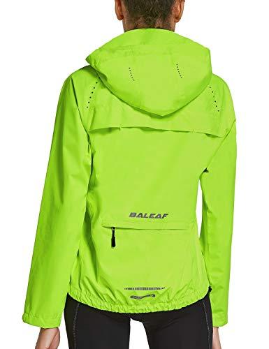 BALEAF - Giacca a Vento per Ciclismo Corsa, Riflettente Antivento, Impermeabile con Cappuccio per Donna (Medio, Giallo Fluorescente)