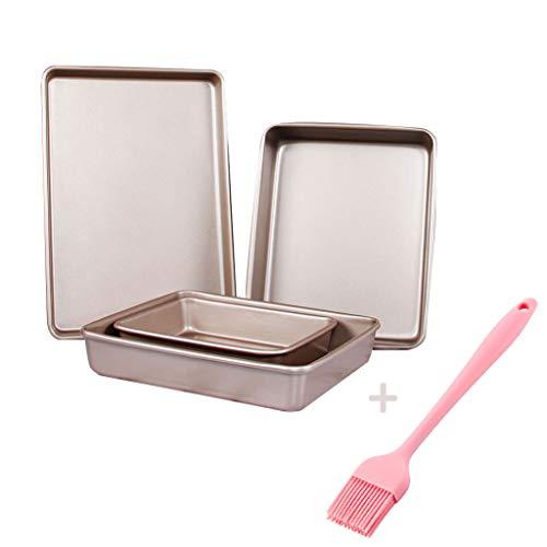 Rechthoek Carbon Steel Baking Cookie Sheets, Anti-aanbak Bakvormen Bakvormen Set, Niet giftig, Gezond, Gemakkelijk schoon te maken, Champagne goud, 4 stuks