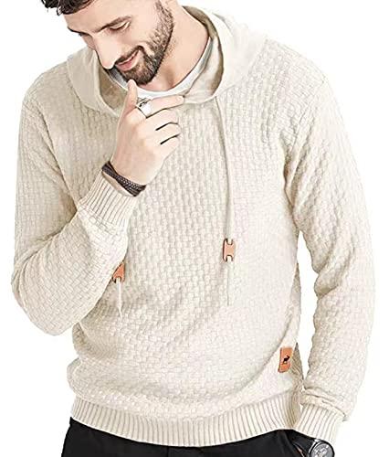 Zaitun Mens Hooded Sweatshirt Long Sleeve Solid Knitted Hoodie Pullover Sweater (Khaki, L)