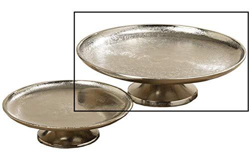 Dekoteller Silber Dekoschale Metall massiv Teller Schale rund Tischdeko Deko (Groß: Ø 27 cm)