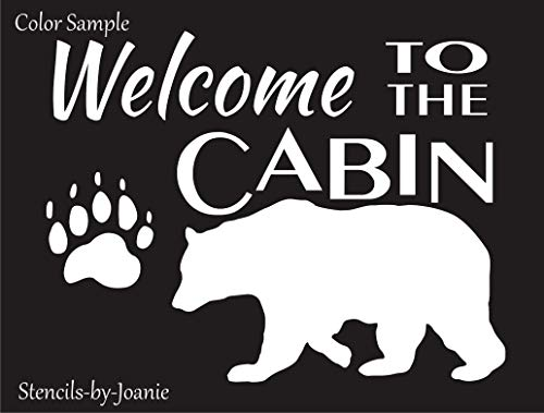 """Joanie 9""""x12"""" Stencil Welcome to The Cabin Bear Track Paw Print Mountain Outdoor Lodge Woodland Decor"""