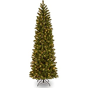 National Tree Company 'Feel Real lit Artificial Christmas Tree Includes Pre-strung White Lights Downswept Douglas Fir Pencil Slim-7.5 ft