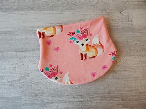 Halssocke Gr. 49-55 in rosa mit Füchsen, gefüttert mit Fleece in rosa. Oberstoff: 95% Baumwolle, 5% Elasthan, Futter: 100% Polyester