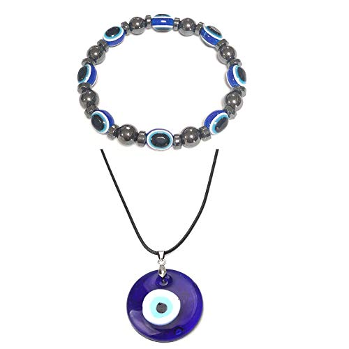 COLORFUL BLING Set Evil Eye Elastic Stretch Beaded Bracelet Wristband Rope Pendant Necklace Natural Good Luck for Woman Men Jewelry Amulet Friendship Family Handmade Turkish Protect-Necklace Bracelet