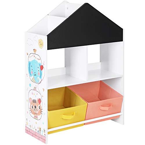 SONGMICS Kinderzimmerregal, Spielzeug-Organizer, Spielzeugregal mit schwarzer Tafel, multifunktionale Aufbewahrungsboxen, Ablage, weiß, schwarz, orange und gelb GKR320W01