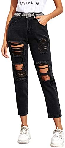 SweatyRocks Women s Ripped Boyfriend Jeans Distressed Denim High Waisted Jeans Black M product image