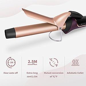 Lockenstab Set 25mm LCD 30s Schnellerwärmung 10 Temperatureinstellung 120℃-210℃ hochwertige Keramikbeschichtung von ELEHOT