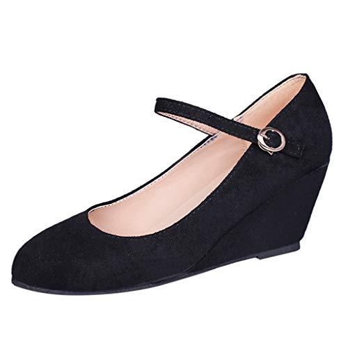 Vovotrade Dames Wedges gesp sandalen vrijetijdsschoenen Romeinse schoenen, eenvoudig ontwerp in volle kleur, eenvoudig en stijlvol