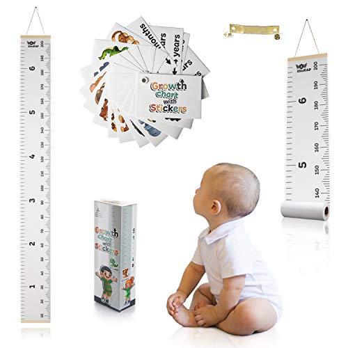 Tabla de crecimiento para niños medición de altura – Regla de Canavas para colgar en la pared para medir el crecimiento con pegatinas animales para niños niñas Canavas extraíble decoración para niños sala de juegos adultos habitación bebé guardería