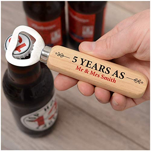 PERSONALISED 5th Wedding Anniversary Gifts for Husband- Wood Anniversary Gifts for Him - Custom Anniversary Bottle Opener - 1st, 2nd, 3rd, 4th, 10th Anniversary Gifts - Bottle Opener Gifts from Wife