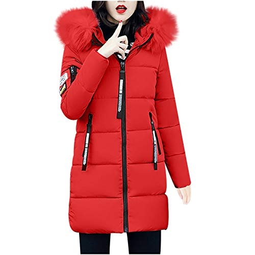 Invierno Slim Abrigo con Capucha Acolchado Chaqueta Largo con Capucha para Mujer (Rojo, M)