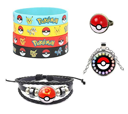 7 Stks Polsband Armband Kinderen Pokemon Go Team Mystic Instinct Rubber Siliconen Armbanden & Bangles Met Ketting RIng