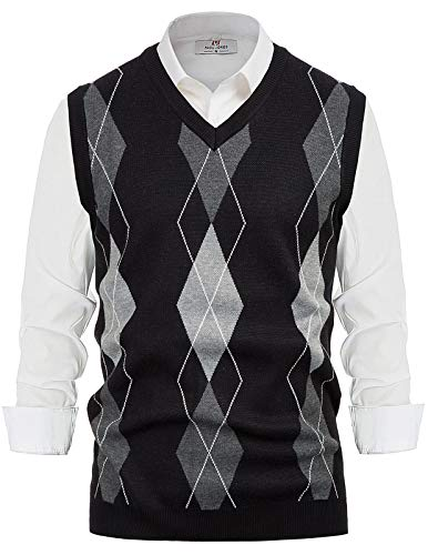 PAUL JONES Mens Argyle Sweater Vest V Neck Knitted Sleeveless Pullover Vest Black 2XL