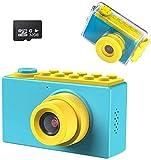 Kriogor Cámara impermeable para niños, cámara digital y videocámara con HD 1080/8 megapíxeles, LCD de 2 pulgadas, tarjeta TF de 256 m, color azul