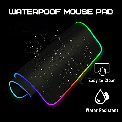 RGB Gaming Mauspad 300x2500mm LED Mouse Pad mit 12 Beleuchtungs Modi Wasserdicht Anti Rutsch Mouse Mat für Computer PC Professionelle Gamer