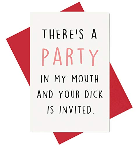 Party in My Mouth Birthday Card, Naughty Anniversary Card, Funny Card for Boyfriend Husband Fiance