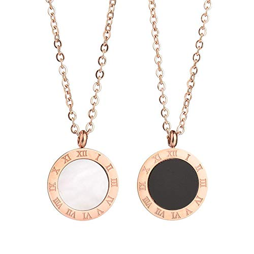 iMustbuy Simple Atmosphere Roman Numerals Rose Gold Stainless Steel Clavicle Chain Jewelry Necklace