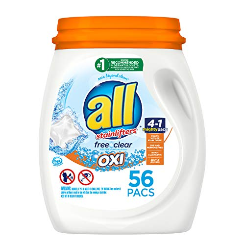 All Mighty Pacs Laundry Detergent with Oxi Stain Removers and Whiteners, Free Clear, Tub, 56 Count