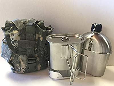 G.I. Style 1 qt. Stainless Steel Canteen with Cup and Vented Lid with New (ALUMINUM) Stove Foldable, And Surplus G.I. Issue Cover (ACU MOLLE II)