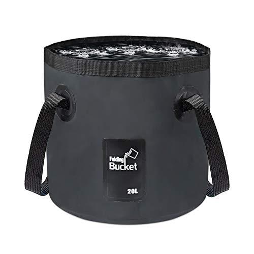 Idefair Faltbarer Wassereimer 20L, Waschbecken Zusammenklappbarer Wasserspeicherbehälter Klappbarer Camping-Eimer für Reisen im Wandern Angeln Gartenarbeit Autowaschen