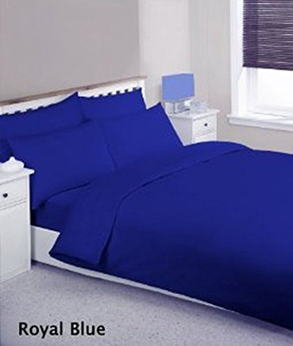 Rohi Easy Care Plain Duvet Cover, Quilt Cover Set with Pillowcases, Bedroom Bedding Bed Set (King, Royal Blue)