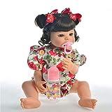 Q-YR Weiches Silikon-Vinyl-Reborn-Baby-Puppen Mädchen 55Cm Echtes Leben Realistische Neugeborene Puppenspielzeug Geschenke Mit Schnullerflasche,Brown Eyes