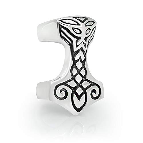 925 Sterling Silver Filigree Celtic Nordic Vikings Thor's Hammer for Hair, Dreads & Beards, Bead Charm Fit Major Brand Bracelet