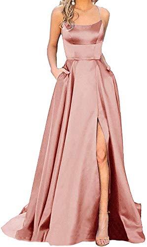 Women's Halter Prom Dresses Long Side Spilt Backless Satin Formal Evening Gowns with Pockets Rose Pink