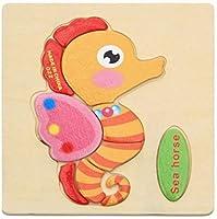 立体パズル 木製パズル 赤ちゃんのおもちゃ木製3dパズル漫画動物インテリジェンス子供教育脳ティーザー子供タングラム形状学習ジグソーパズル 知育玩具 教育おもちゃ 型合わせ はめこみ ベビー 赤ちゃん 幼児 子供 男の子 女の子 子ども 教材 誕生日 クリスマス プレゼント 贈り物 出産祝い 入園お祝い (海の馬)